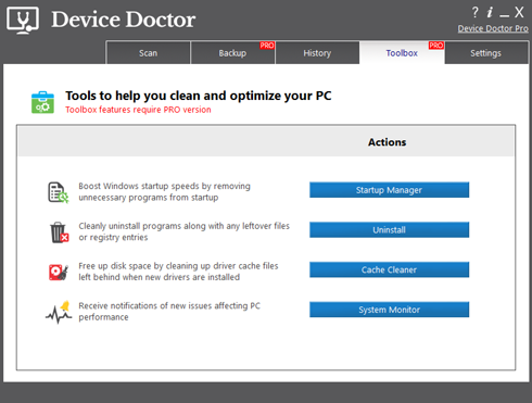 Extra management tools included with Device Doctor